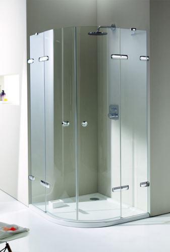 Hüppe Enjoy elegance bezrámový 1/4-kruh 2-křídlové dveře s pevnými segmenty