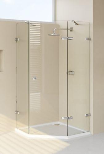 Hüppe Enjoy elegance bezrámový 5-úhelník 1-křídlové dveře s pevnými segmenty upevnění vpravo