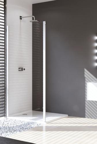 Hüppe Design pure 4-úhelník boční stěna pro posuvné dveře 1-dílné s pevným segmentem upevnění vlevo
