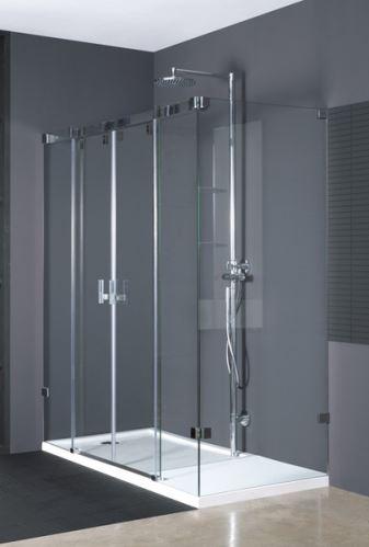 Hüppe Vista pure bezrámová 4-úhelník posuvné dveře 2-dílné s pevnými segmenty a boční stěnou upevnění vlevo