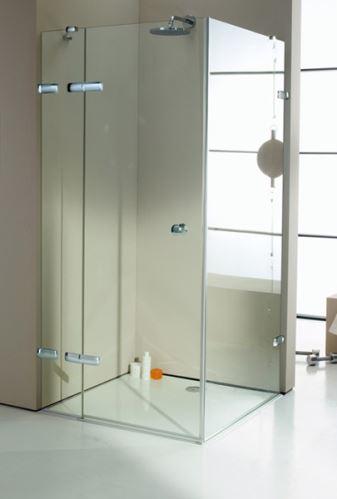 Hüppe Enjoy elegance bezrámový 4-úhelník křídlové dveře s pevným segmentem a boční stěnou upevnění vlevo