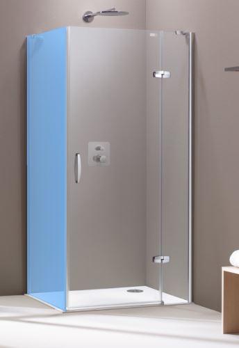 Hüppe Aura elegance 4-úhelník křídlové dveře s pevným segmentem pro boční stěnu /rohový vstup upevnění vpravo