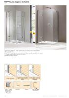 Hüppe Aura elegance 4-úhelník křídlové dveře s pevným segmentem pro boční stěnu /rohový vstup upevnění vlevo