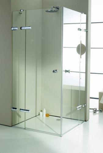 Hüppe Enjoy elegance bezrámový 4-úhelník křídlové dveře s pevnými segmenty rohový vstup