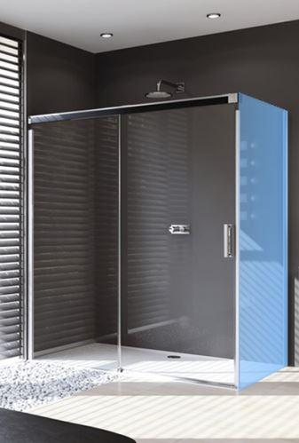 Hüppe Design pure 4-úhelník posuvné dveře 1-dílné s pevným segmentem upevnění vlevo