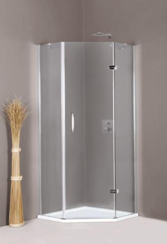Hüppe Aura elegance 5-úhelník 1-křídlové dveře s pevnými segmenty upevnění vpravo