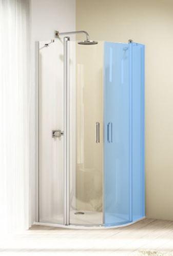 Hüppe Design elegance 1/4-kruh 2-křídlové dveře s pevnými segmenty