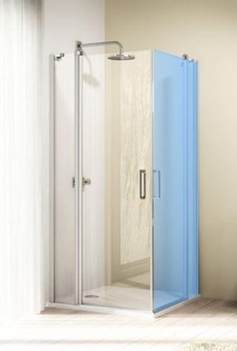 Hüppe Design elegance 4-úhelník křídlové dveře s pevným segmentem s otevíráním dovnitř/ven pro kombinaci s boční stěnou