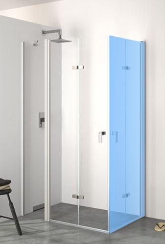 Hüppe Design pure 4-úhelník křídlové sklapovací dveře s pevným segmentem upevnění vlevo