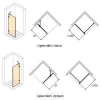 Hüppe Enjoy pure bezrámový 4-úhelník boční stěna samostatně stojící upevnění vlevo