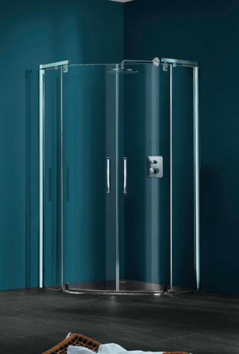 Hüppe Refresh pure 5-úhelník 2-křídlové dveře s pevnými segmenty