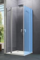 Hüppe Design pure 4-úhelník křídlové dveře s pevným segmentem s otevíráním dovnitř/ven pro kombinaci s boční stěnou