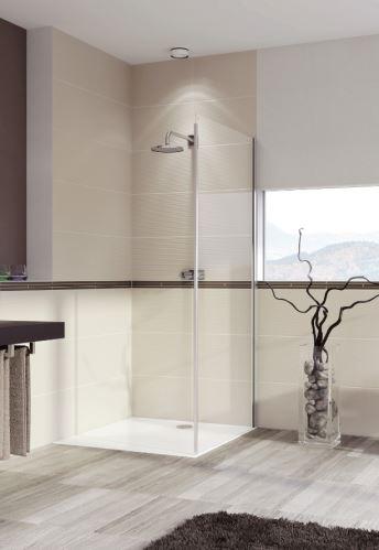 Hüppe Aura elegance 4-úhelník boční stěna pro posuvné dveře 2-dílné s pevnými segmenty/posuvné s pevným segmentem a protisegmentem