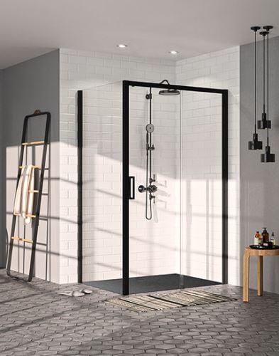 Hüppe Classics 2 EasyEntry Black Edition 4-úhelník posuvné dveře 1-dílné s pevným segmentem upevnění vpravo