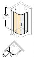 Hüppe Classics 2 1/4-kruh křídlové dveře s pevným segmentem rohový vstup ½