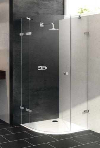 Hüppe Enjoy elegance bezrámový 1/4-kruh 1-křídlové dveře s pevnými segmenty upevnění vlevo