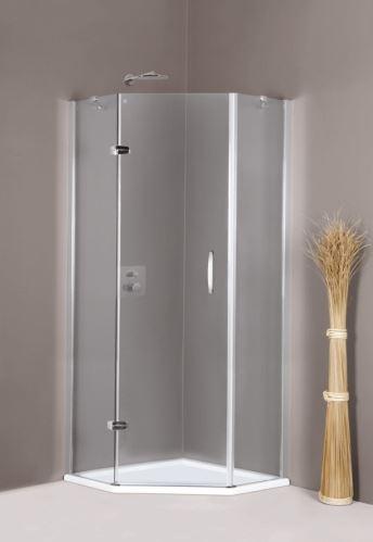 Hüppe Aura elegance 5-úhelník 1-křídlové dveře s pevnými segmenty upevnění vlevo