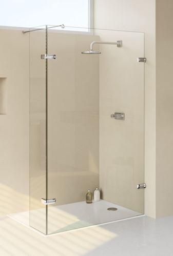 Hüppe Enjoy elegance bezrámový 4-úhelník walk-in boční stěna s výklopným segmentem upevnění vpravo