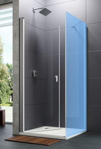 Hüppe Design pure 4-úhelník křídlové dveře s otevíráním dovnitř/ven pro kombinaci s boční stěnou