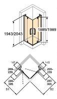 Hüppe Refresh pure 4-úhelník křídlové dveře s pevnými segmenty rohový vstup