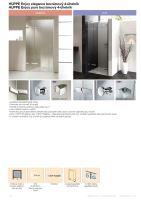 Hüppe Enjoy elegance bezrámový 4-úhelník křídlové dveře s pevným segmentem pro niku upevnění vpravo