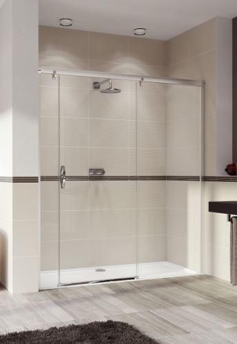Hüppe Aura elegance 4-úhelník posuvné dveře s pevným segmentem a protisegmentem upevnění vpravo