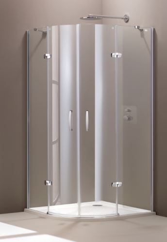Hüppe Aura elegance 1/4-kruh 2-křídlové dveře s pevnými segmenty