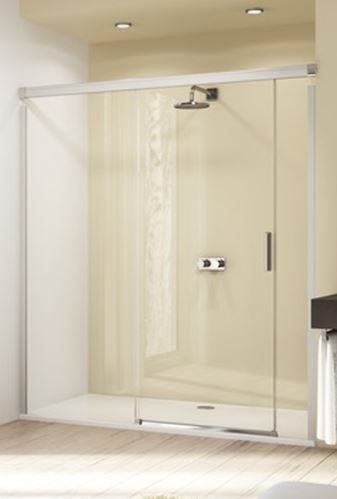 Hüppe Design elegance 4-úhelník posuvné dveře s pevným segmentem a protisegmentem upevnění vlevo do niky