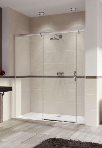 Hüppe Aura elegance 4-úhelník posuvné dveře s pevným segmentem a protisegmentem upevnění vlevo