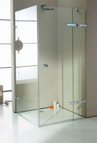 Hüppe Enjoy elegance bezrámový 4-úhelník křídlové dveře s pevným segmentem a boční stěnou upevnění vpravo