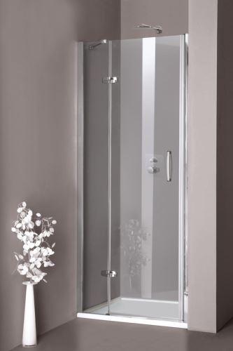 Hüppe Aura elegance 4-úhelník křídlové dveře s pevným segmentem do niky upevnění vlevo