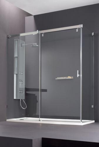 Hüppe Vista pure bezrámová 4-úhelník posuvné dveře 1-dílné s pevným segmentem a boční stěnou upevnění vlevo