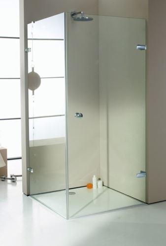 Hüppe Enjoy elegance bezrámový 4-úhelník křídlové dveře s boční stěnou upevnění vpravo