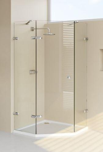 Hüppe Enjoy elegance bezrámový 5-úhelník 1-křídlové dveře s pevnými segmenty upevnění vlevo