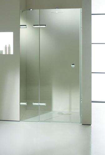 Hüppe Enjoy elegance bezrámový 4-úhelník křídlové dveře s pevným segmentem pro niku upevnění vlevo