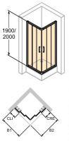 Hüppe Classics 2 4-úhelník posuvné dveře rohový vstup 3-dílný