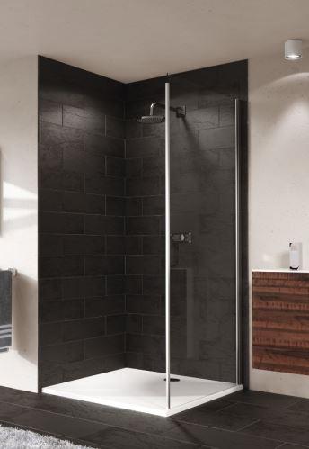Hüppe Aura elegance 4-úhelník boční stěna pro posuvné dveře 1-dílné s pevným segmentem