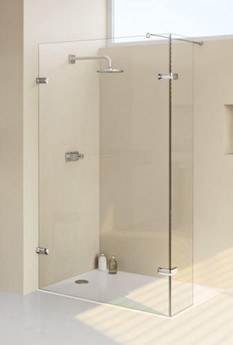 Hüppe Enjoy elegance bezrámový 4-úhelník walk-in boční stěna s výklopným segmentem upevnění vlevo