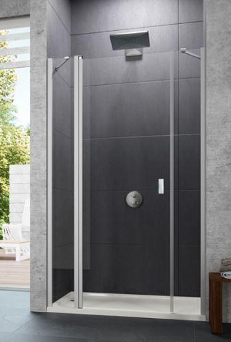 Hüppe Design pure 4-úhelník křídlové dveře s pevným segmentem a protisegmentem do niky