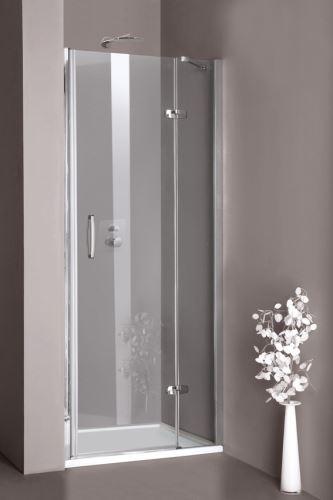 Hüppe Aura elegance 4-úhelník křídlové dveře s pevným segmentem do niky upevnění vpravo