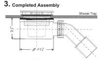 Hüppe EasyStep Sifon s krytkou a se stavební výškou 70mm a s průtokem až 0,6l/s. Výška zápachové uzávěry 50mm