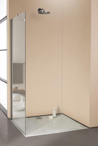 Hüppe Enjoy elegance bezrámový 4-úhelník boční stěna samostatně stojící upevnění vlevo