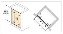 Hüppe Design pure 4-úhelník dvoje křídlové sklapovací dveře do niky