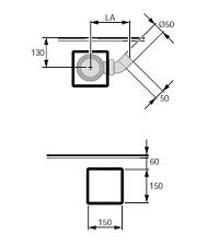 Hüppe EasyFlat Plochý sifon s krytkou a se stavební výškou bez krytky 53mm a s průtokem až 0,5l/s. Výška hladiny zápachové uzávěry 40mm