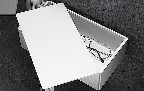 Hüppe Select+ Drybox - odkládací box s víkem, stříbrná matná