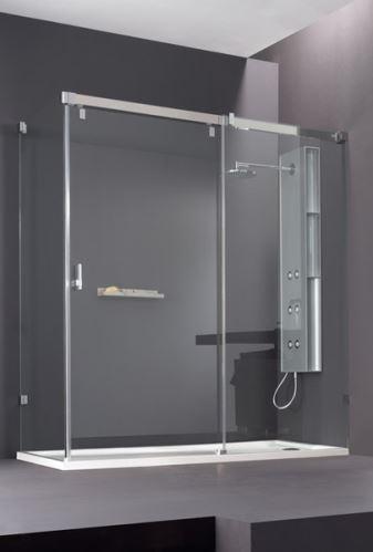 Hüppe Vista pure bezrámová 4-úhelník posuvné dveře 1-dílné s pevným segmentem a boční stěnou upevnění vpravo