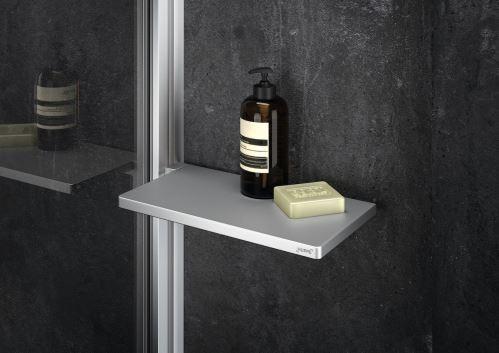 Hüppe Select+ Tablet - designová polička, stříbrná matná